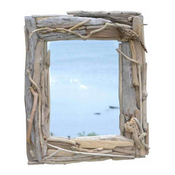 Driftwood Mirror - This stunning mirror is handcrafted of local Long Island driftwood, a true one of a kind piece of art.