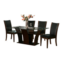 "American Eagle Furniture - 471DT & 470CH Dark Walnut Wood With Black Vinyl 5 Piece Dining Set - The 471DT & 470CH dining set has a traditional look with a modern flair that works with any decor.The table features a rectangular glass top with a 64"" length. The base is crafted from dark walnut finished wood with a unique flared out design that adds to the overall look. The chairs are crafted from solid wood products with a matching dark walnut finish. They come upholstered in a beautiful black vinyl material with high density foam within inside. The dining set consist of a dining table and four chairs only."