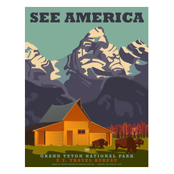 See America, Grand Teton National Park Print - See America poster celebrating Grand Teton National Park. Poster shows the Mormon Row barn of John and Thomas Alma with Buffalo grazing in the field and the Teton Range in the background.Illustration by Steven Thomas in 2013.