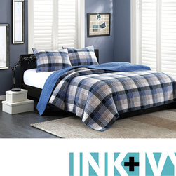 Ink and Ivy - Ink and Ivy Maddox 3-piece Quilt Set - Make your bedroom more modern with this beautiful three-piece quilt set. The plaid set is made of 100 percent cotton and contains easy-to-match blue and khaki tones. The quilt has a cotton fill for added comfort and is machine-washable.