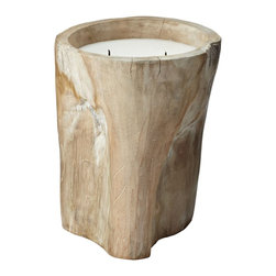 Lazy Susan - Lazy Susan 784043 White Pepper Log Candle - Large - You've heard of seasoned wood, right? Well this wax candle bumps the flavor up a notch. The holder is handcrafted from natural white pepperwood that is sure to shake you out of your daily decorating grind.