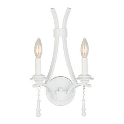 Crystorama Lighting Group - Crystorama Lighting Group 9352-WW Parson 2 Light Candle Style Double Wall Sconce - Crystorama Lighting Group 9352-WW Parson Two Light Wall SconceCrystorama Lighting Group 9352-WW Features: