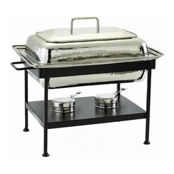 Old Dutch International - Rectangular Stainless Steel Chafing Dish - Includes sturdy iron stand. 8 quart capacity. Chrome plated. Made from stainless steel. 23 in. L x 14.75 in. W x 19 in. H (29 lbs.)Rectangular Polished Nickel Chafing Dish.  8 Qt. Stainless steel food pan is oven safe to 350F, water-bath design keeps food at the perfect serving temperature without drying out.