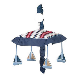 Sweet Jojo Designs - Nautical Nights Crib Mobile - The Nautical Nights musical crib mobile set will help complete the look of your Sweet Jojo Designs nursery. This set includes a musical mobile frame, canopy with hanging toys, and matching arm sleeve cover. The wind-up mobile spins and plays Brahms's lullaby. This mobile fits standard cribs.Please note:The plastic clamp fits standard rails up to 2 3/4 in. wide. Non-standard crib rails may be wider than 2 3/4 in. and may not work with these mobile frames.