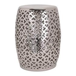 "Imax - Silver Geometric Ceramic Garden Stool - *Dimensions: 20""h x 14.75""w x 14.75"""