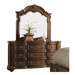 Homelegance - Homelegance Prenzo Dresser with Mirror in Brown - European Elegance at its best. Flowing lines, detailed carvings, beautiful veneer treatments and grand scale are some of the many design elements of our Prenzo collection .