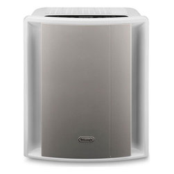 DeLonghi AC230 Energy Star 220 Square Foot Air Purifier w/ Ionizer & HEPA Filter - 7736 delonghiLogoThe DeLonghi AC230 Energy Star Air Purifier with Ionizer incorporates the latest technological features for quiet, home air filtration and is suitable for rooms up to 220 sq. ft. It has six layers of air filtration including the pre-filter, HEPA filter, active carbon filter, NANO silver filter, photo catalytic filter with UVC lamp and ionizer with on/off function cleaning the air and removing impurities down to a size of 0.3 microns including dust, pollen, cigarette smoke and car exhaust fumes. DeLonghi's AQS air quality system uses a unique lighted sensor system to give you visible feedback on the room's air quality (orange for bad, green for satisfactory, and blue for good) adjusting the fan speed as the room's air quality changes. Convenience features include a sensor touch LED control panel, timer (1, 3, 4 or 8 hours) and filter indicatorstrong>Features: - Energy Star air purifier with ionizer is suitable for rooms up to 220 sq. ft. (CADR: 144) - AQS air quality system uses a unique lighted sensor system to give visible feedback on room's air quality - 6 layers of filtration include pre-filter, HEPA filter, active carbon filter, NANO silver filter, photo catalytic filter with UVC lamp and ionizer - Cleans the air and removes impurities down to a size of 0.3 microns including dust, pollen, cigarette smoke and car exhaust fumes - Sensor touch LED control panel - 3 fan speeds - Ionizer has on/off function - Timer (1, 3, 4 or 8 hours) - Filter indicator - Quiet operation - AHAM certified
