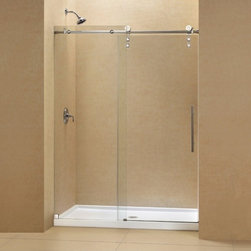 "DreamLine - DreamLine DL-6624C-08CL Enigma-Z Shower Door & Base - DreamLine Enigma-Z Fully Frameless Sliding Shower Door and SlimLine 36"" by 48"" Single Threshold Shower Base"