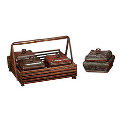 Howard Elliott - Howard Elliott 1949 Multicolor Faux Leather Set of 4 Decorative Wood Boxes w/ Wo - Jewelry Box Set with Basket by Howard Elliott This set of 4 Decorative Wood Jewelry Boxes are covered in embossed faux leather of rich red and brown tones. The set of boxes fit into a matching wood basket. Each has a wood handle on top. Boxes (4), Basket (1)