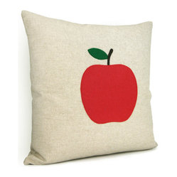 Natural Beige Pillow Cover with Felt Apple Appliqué by Classic by Nature