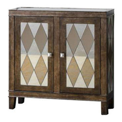 Uttermost Trivelin Wooden Console Cabinet - Tarnished silver finish on the wooden frame, with the doors, sides, and top inset with a harlequin pattern of clear and bronze mirrors. Tarnished silver finish on the wooden frame, with the doors, sides and top inset with a harlequin pattern of clear and bronze mirrors.
