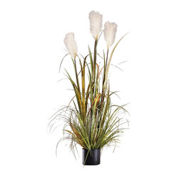 "Pier Surplus - Artificial 47"" Reed Grass w/ White Flowers & Black Pot - ""Reed Banks"" #HD222559 - Made from the highest-quality materials, its delicate leaves and cattails will fool the most discerning eye while freeing you from watering and care usually needed by this water-loving species. At 47 in. tall and with its interesting and beautiful textures, you're sure to love this faux plant in your home."