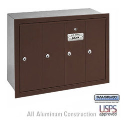 Salsbury Industries - Vertical Mailbox - 4 Doors - Bronze - Recessed Mounted - USPS Access - Vertical Mailbox - 4 Doors - Bronze - Recessed Mounted - USPS Access
