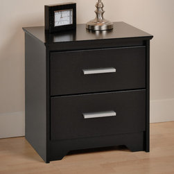 """Prepac - Black Coal Harbor 2 Drawer Nightstand - Who says practical furniture can't be trendy? Get functional and fashionable with the Coal Harbor 2 Drawer Nightstand. This space-saving bedside table gives you two full-sized drawers, each perfect for storing the odds-and-ends of your life out of sight. Use the sturdy top to pile on your books, cell phone, reading glasses, alarm clock, lamp and whatever else you like: this night table will serve your storage and style needs. Combine it with other items in the Coal Harbor Bedroom Collection for a complete look!; Bevelled edges, angled cut-outs and 6"""" rectangular matte metal drawer handles; Inset drawers run smoothly on metal glides with built-in safety stops; Clear lacquered real wood drawer sides; Finished in durable deep black laminate; Constructed from CARB-compliant, laminated composite woods with a sturdy MDF backer; Ships Ready to Assemble, includes an instruction booklet for easy assembly and has a 5-year manufacturer's limited warranty on parts; Proudly manufactured in North America; Proudly manufactured in North America; Dimensions: 20.5""""W x 21.75""""H x 15.75""""D;"""
