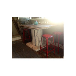 """Ausden Inc - Decker Table - Rustic wood base with refurbished barn wood top & original aged steel hardware (Top dimensions: 60"""" X 60"""") (Free Local Delivery)"""