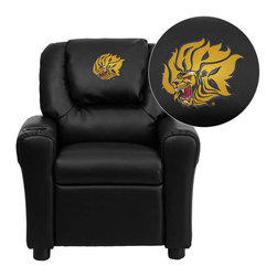 """Flash Furniture - Arkansas Pine Bluff Golden Lions Black Leather Kids Recliner with Cup Holder and - Get young kids in the college spirit with this embroidered college recliner. Kids will now be able to enjoy the comfort that adults experience with a comfortable recliner that was made just for them! This chair features a strong wood frame with soft foam and then enveloped in durable leather upholstery for your active child. This petite sized recliner is highlighted with a cup holder in the arm to rest their drink during their favorite show or while reading a book. University of Arkansas Pine Bluff Embroidered Kids Recliner; Embroidered Applique on Oversized Headrest; Overstuffed Padding for Comfort; Easy to Clean Upholstery with Damp Cloth; Cup Holder in armrest; Solid Hardwood Frame; Raised Black Plastic Feet; Intended use for Children Ages 3-9; 90 lb. Weight Limit; CA117 Fire Retardant Foam; Black LeatherSoft Upholstery; LeatherSoft is leather and polyurethane for added Softness and Durability; Safety Feature: Will not recline unless child is in seated position and pulls ottoman 1"""" out and then reclines; Safety Feature: Will not recline unless child is in seated position and pulls ottoman 1"""" out and then reclines; Overall dimensions: 24""""W x 21.5"""" - 36.5""""D x 27""""H"""