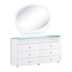Global Furniture - Global Furniture USA Emily 6-Drawer Dresser with Mirror in White - The Emily bedroom collection is finished in a high gloss white. The rich color and elegant curves will compliment any home. Not only is this bedroom collection stylish but it also provides ample storage.