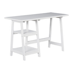 Holly & Martin - Gavin Desk, White - Crafted with simplicity in mind, this white desk has a stylistic expression all it's own. The top is spacious and finished with a rounded edge. The frame is built with durable hardwood legs in an A-frame shape. The left side of the desk features two sturdy shelves for decoration and accessories. Perfect for home office, entry, or living room this rich desk is sure to bring compliments.