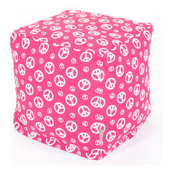Majestic Home - Indoor Hot Pink Peace Small Cube - Bring some peace and comfort to your favorite setting with this cool cube. It's an upgraded version of the old-school beanbag — versatile enough to function as a seat, footstool or side table. To clean, simply unzip the slipcover and toss it in the machine.
