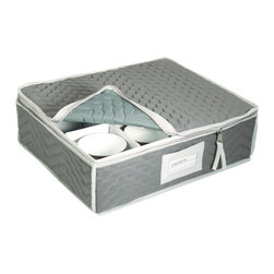 Richards Homewares - Richards Homewares Tabletop Storage Deluxe Microfiber Cup Chest - Safely organize and store you most treasured tea cups with a deluxe Microfiber Cup Storage Chest. This china storage box includes rigid dividers to securely hold up to twelve cups,and features a top-loading design with zipper closure.