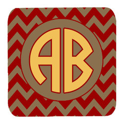 Caroline's Treasures - Chevron for Florida State Personalized Initial Foam Coasters, Set of 4 - Foam Coaster - 3 1/2 inches by 3 1/2 inches. Permanently dyed and fade resistant. Great to keep water from your beverage off your table and add a bit of flair to a gatering.  Match with one of the insulated coolers or huggers for a nice gift pack.  Wash the coaster in the top of your dishwasher.  Design will not come off.  Made from our mouse pad material and is heat resistant.