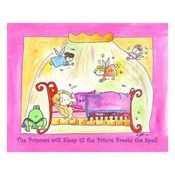 Oh How Cute Kids by Serena Bowman - Sleeping Beauty, Ready To Hang Canvas Kid's Wall Decor, 16 X 20 - Part of my Fairy Tale Princess series. So far as I can remember we have Sleeping beauty, Cinderella, Alice in wonderland, Rapunzel, Princess and the Pea and probably a couple more that I am forgetting!  Each are sold separately but coordinates with everything in the series for an easy fun room decor!