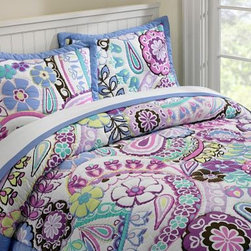 Paisley Pop Quilt & Sham - Have your daughter begging for bedtime with this bright paisley bedding. Lush and soft as well as full of life, this quilt and sham can grow into a bigger girl's room.