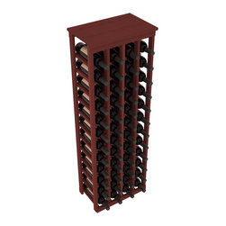 """Wine Racks America - 48 Bottle Kitchen Wine Rack in Premium Redwood, Cherry Stain - Store 4 complete cases of wine in less than 20"""" of wall space. Just over 4 feet tall, this narrow wine rack fits perfectly in hallways, closets and other """"catch-all"""" spaces in your home or den. The solid wood top serves as a shelf or table top for added convenience and storage of nick-nacks."""