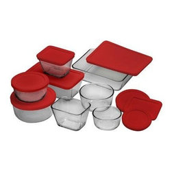 Anchor Hocking - 16-Piece Kitchen Storage Set - 16-piece Kitchen Storage Set (1 cup Round, 2 x 2 cup Round, 4 cup Round, 2 x 1-7/8 cup Rectangle, 4-3/4 cup Rectangle, 6 cup Rectangle with Red Plastic Lids).