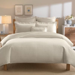 Real Simple - Real Simple Linear Duvet Cover in Stone - The Linear duvet cover by Real Simple brings clean sophistication and rich texture to your bedroom with a ribbed Matelasse design woven in luxuriously soft 100% cotton.