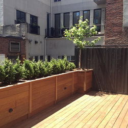New York Roof Top Garden Services and Garden Designs :NYPlantings - Wood Planters with green plants for exterior garden design.
