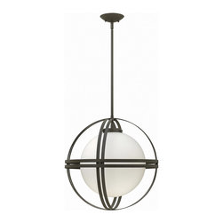 Hinkley Lighting - Hinkley Lighting 3277BZ Atrium 1 Light Mini Pendants in Bronze - Atrium�s transitional chandelier design suggests an outer sphere constructed with two sets of parallel rings that intersect on each axis. The contemporary feel of the intersections is balanced by the rich Bronze finish to create a forged feel, softening its modern lines.