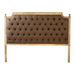 Kathy Kuo Home - French Shabby Chic Limed Oak Brown Linen Tufted Headboard- Queen - Old World glamor is mixed with classic French and European design. With elegant curves and button tufting, the Louis Headboard reflects the luxurious design and craftsmanship of the Louis XV period. An antique reproduction, it is hand finished in a limed gray oak and tufted with an aubergine brown fog linen.