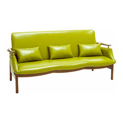 Great Deal Furniture - Braselton Leather Wood Frame Sofa, Green - The Braselton Wood Frame Sofa is a great addition to any room in your home. This mid-century inspired design combines the bonded leather and natural ash wood frame to create a unique sleek look. This sofa demonstrates attention to detail with its shape and form to enhance any space it is placed in.