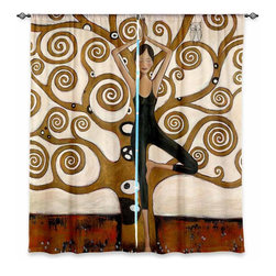 """DiaNoche Designs - Window Curtains Lined by Denise Daffara Tree of Wisdom - DiaNoche Designs works with artists from around the world to print their stunning works to many unique home decor items.  Purchasing window curtains just got easier and better! Create a designer look to any of your living spaces with our decorative and unique """"Lined Window Curtains."""" Perfect for the living room, dining room or bedroom, these artistic curtains are an easy and inexpensive way to add color and style when decorating your home.  This is a woven poly material that filters outside light and creates a privacy barrier.  Each package includes two easy-to-hang, 3 inch diameter pole-pocket curtain panels.  The width listed is the total measurement of the two panels.  Curtain rod sold separately. Easy care, machine wash cold, tumble dry low, iron low if needed.  Printed in the USA."""