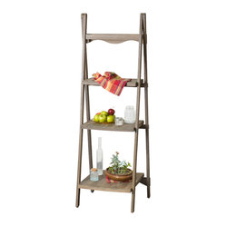 Great Deal Furniture - Meriden Wood Ladder Display Shelf - The Meriden wood display shelf exudes soft, contemporary inspired elements. Built from hardwood, this piece has a white-washed finish and stands on matching easel legs. The 3-tier shelves differ in size for versatility, and the curved accents compliment this piece's overall look.
