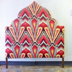 Custom Trina Turk Upholstered Headboard - We custom built this Moroccan-style headboard and upholstered in Trina Turk fabric.