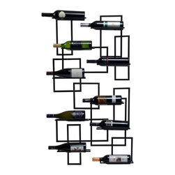 Modern Metal Wine Wall Pod - Inspired by the stylings of the mid-20th century, the Metal Mod Wine Wall Pod holds up to 10 bottles of wine. It comes in two pieces; mount them on top of each other or side by side depending on personal tastes and available wall space. Its clean, geometric lines add visual interest to most any décor scheme.