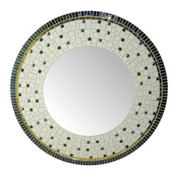 Other Mosaic Mirrors - Custom round glass mosaic mirror in an off white, black, and gold color scheme.  Materials used include stained glass, french unglazed porcelain, and glass mosaic tile.  Custom sizes and color schemes available; pricing varies upon size.