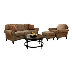 Broyhill - Broyhill Larissa 3 Piece Brown Sofa Set with Cherry Wood Finish - Broyhill - Sofa Sets - 61123Q161120Q161125Q1Set