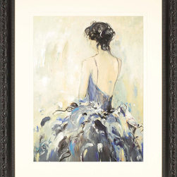 Paragon Decor - Fond Reflections Artwork - An elegant lady is ready for the ball.  Matted in ivory and framed in ornate black finish molding.