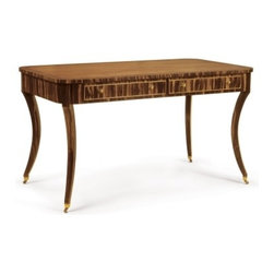 EcoFirstArt - Perth Writing Table - Art Deco Writing Desk made from Macassar Ebony and Mahogany. Inset mahogany top and Two drawers. Available in custom sizes and finishes.