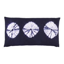 John Robshaw Textiles Ooo Tie Dye Pillows - This unique pillow resembles three sand dollars, and in dark tie dye, makes it a unique beachy choice that's at once a bit eclectic yet contemporary.