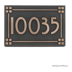 """Willow Craftsman Address Plaque 16"""" x 10.5"""" in Bronze Patina with Lines and Squa - We named our Willow Craftsman Address Plaque after the Willow Font that is used. The Willow Typeface is the work of Dave Fabik and dates from 1995. It has some similarities to the more famous, and much older, Rennie Mackintosh font, but retains its own character and a little extra punch. It might be coincidental, but the willow leaf form was often used by one of the founders of the Arts and Crafts Movement, William Morris. All-in-all, the Willow is most appropriate for your Craftsman Style Building."""