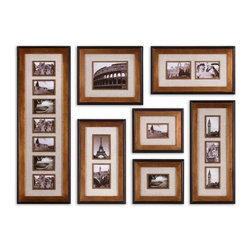 Uttermost - 7 Pc Set Newark Photo Collage Wall Art - Designer: Grace Feyock. Ivory Linen mats surround photos. May be hung horizontal or vertical. Frames features a heavily antiqued Gold finish with a matte Black outer edge. Holds photo sizes: 12 4x6, 1 8x10, 4 5x7. Frame sizes:. 15 in. L x 44 in. H. 17 in. L x 19 in. H. 13 in. L x 29 in. H. 14 in. L x 24 in. H. 13 in. L x 15 in. H