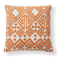 Apt2B - Prairie Toss Pillow - This pattern is not quite ikat, not quite Greek key, and as such, wholly original. Orange has an uncanny way of imbuing a room with warmth and a carefree attitude; it's fun and unfussy.