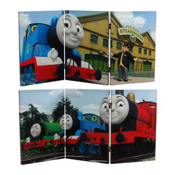 Oriental Furniture - 2 ft. Tall Double Sided Thomas Sodor Steamworks Canvas Room Divider - Eye catching images from the Thomas & Friends television series, including Thomas the Tank Engine, Percy the Small Engine, and James the Red Engine. At almost four feet long and two feet high, this limited edition design works as both a table top size screen or as a hinged triptych wall art print. Colorful, creative home or office decor, designed for kids from ages five to fifty.