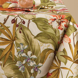 "Frontgate - Tommy Bahama Paradise Point Table Cloth - 60"" x 102"" - 60% cotton and 40% polyester. Beautifully detailed design. Napkins are generously sized for any occasion. Machine washable. Imported. The Paradise Point Table Linens from Tommy Bahama bring a lavish tropical accent to your tabletop decor. Functional as well as beautiful, these tablecloths, napkins, and placemats are made to last.. . . . ."
