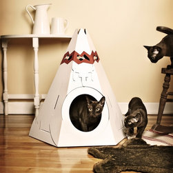 Native American Teepee Litter Box - To be honest, I don't even know how long this cardboard litter cover tepee will last, but it is such a funny photo op that it seems worth it to me no matter what.