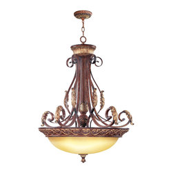 Livex - Livex Villa Verona Inverted Pendant 8587-63 - Finish: Verona Bronze with Aged Gold Leaf Accents